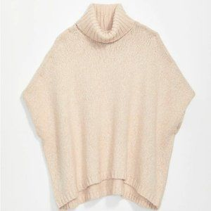 Loft Shimmer Poncho Sweater in Plush Cream